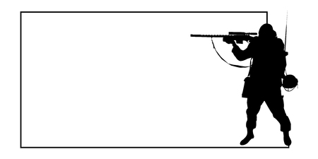 Gunner with frame for background and text, vector EPS10 (soldiers can be used separately)