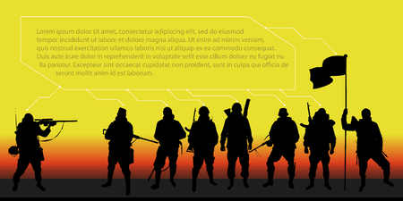 Background with soldiers for the text on the theme of the army, the war (infographic) Stock Photo