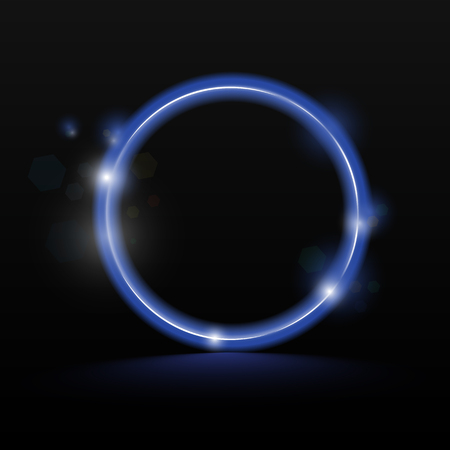 Neon circle - blue, ultraviolet background for banner vector
