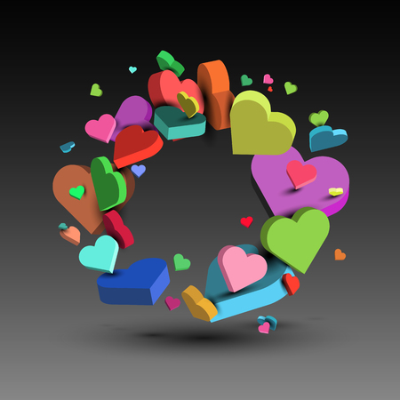 multi-colored hearts, on the day of St. Valentine and March 8 Illustration