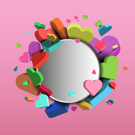 Colorful hearts for Valentines Day and March 8 - 3d vector background.