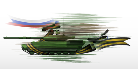 The tank with the St. George ribbon and Russian flag, vector illustration - vector eps10 Illustration