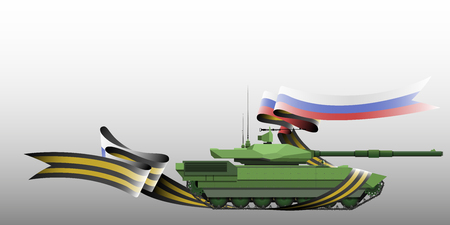 The tank with the St. George ribbon and Russian flag, vector illustration - vector eps10 矢量图像