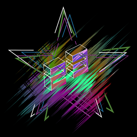 Star on February 23 with a glitch on the multi-colored background in the form of a stroke - vector.