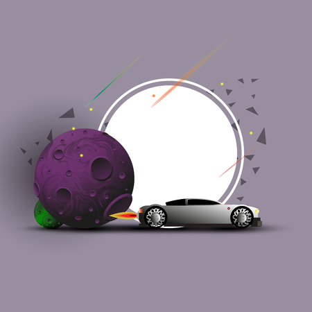 Banner or background on the theme of a car launched into space