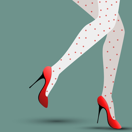 Illustration of a womans legs in red shoes on a blue background