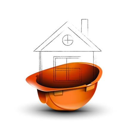 The orange helmet with the drawing of the house