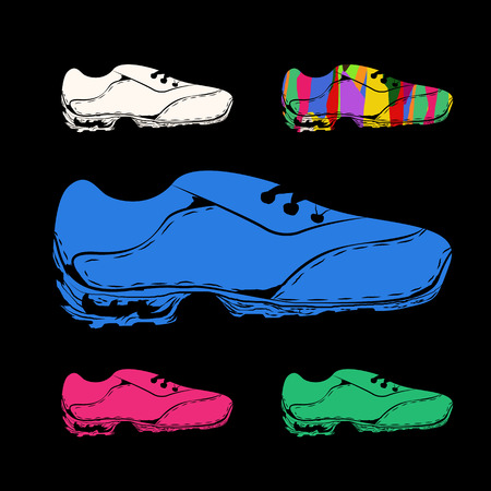 Sneakers in different colors - vector EPS 10 Stock fotó