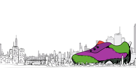 The city with sneakers for the background, white, vector EPS10 Stock fotó