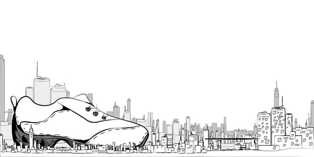 Illustration of a city with sneakers for the background, white, vector EPS10 Stock fotó