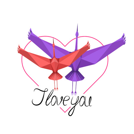 Two storks (love symbol) with lettering I love you, vector EPS10 Stock fotó