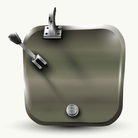 The hatch of the tank (background and banner), vector