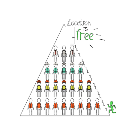 Career ladder in the pyramid, vector illustration EPS 10