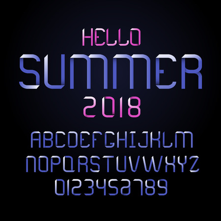 Vector modern font and alphabet. Lettering for summer.