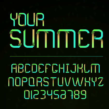 Vector font and alphabet with numbers. Letters with leaves. Eco letters. Lettering for summer. Alphabet in the style of nature and plants.