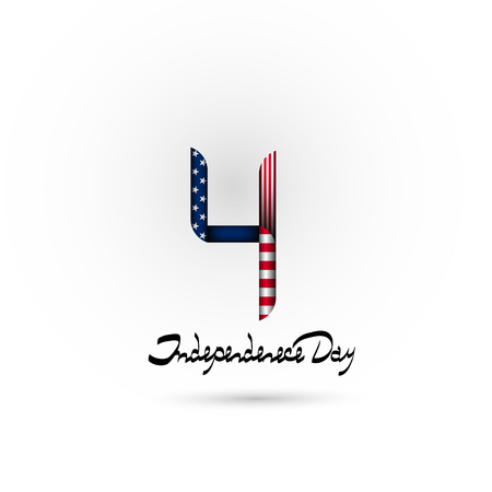 Number 4 in the style of the us flag. July 4-US independence day. Lettering-independence day. Background, logo, icon. Stock fotó