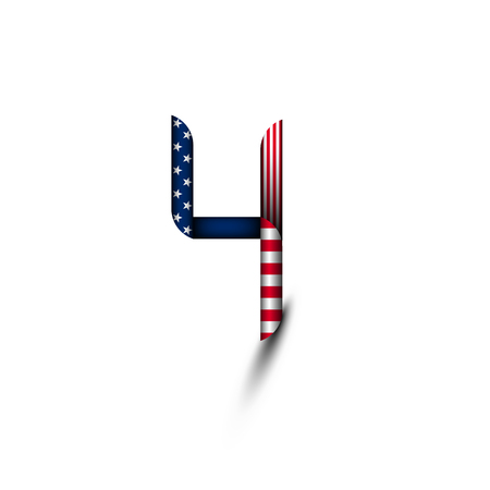 Number 4 in the style of the us flag. July 4-US independence day. Background, logo, icon.