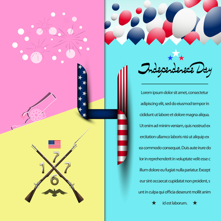 Number 4 in the style of the us flag. July 4-US independence day. Lettering-independence day. Background with balloons with a cannon and fireworks. Old muskets from the revolution. Fashion backgroun Stock fotó