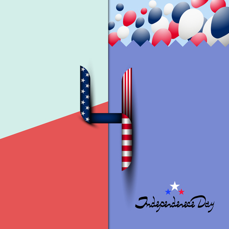 Number 4 in the style of the us flag. July 4-US independence day. Lettering-independence day. Background with balloons. Fashion background. Modern background. Logo, icon. Stock fotó