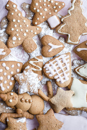 Decorated Christmas gingerbread various forms close-up Stock Photo