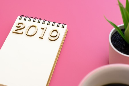 Notebook to describe the goals for 2019 on purple background