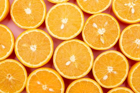 Background of Orange juicy oranges divided in half. Top view Stockfoto