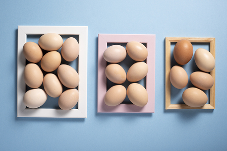 Brown eggs inside of the frame on a blue background. Top view