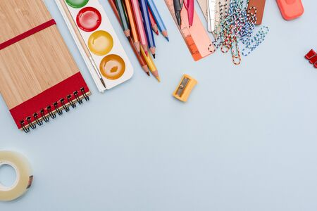 Back to School Concept with Stationery Supplies and board