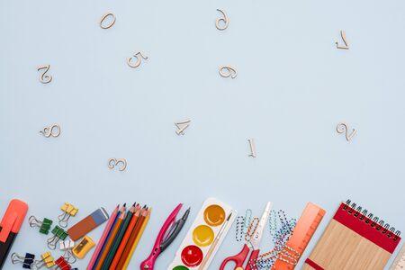 School supplies on board background ready for your design Zdjęcie Seryjne