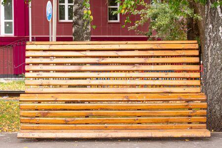 Beautiful wooden bench in autumn park Zdjęcie Seryjne