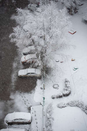 First snow. Cars and trees covered snow. Trace of people on snow. Urban landscape. Top view.