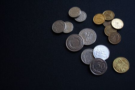 Collection of Polish coins zloty and groszy isolated on black background with a copy space