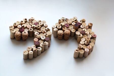 Wine corks quotation marks silhouette isolated on white background