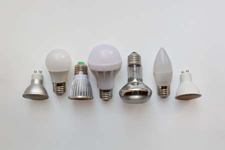 Electric lamps in a row isolated on white background from a high angle view 版權商用圖片