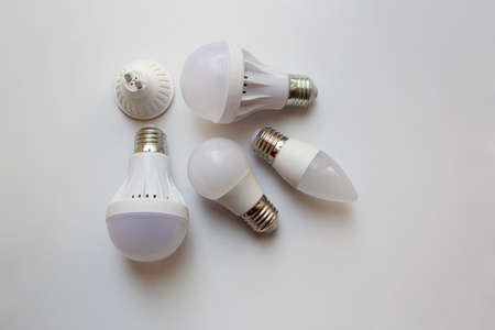 White light bulbs isolated from a high angle view