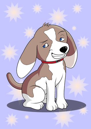 crafty: Cartoon beagle dog, cute and crafty. Illustration