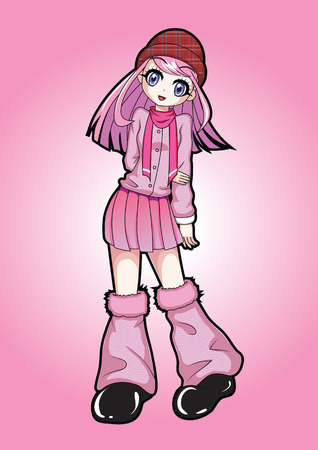 Cute girl in a pink dress