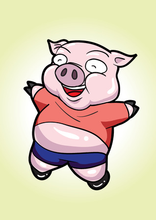 jubilant: Pig are cute and cheerful. Illustration