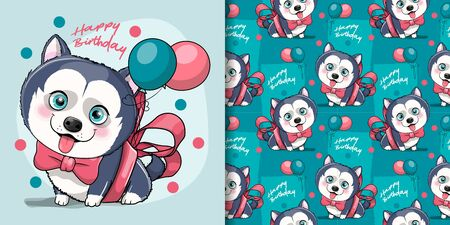 cute cartoon husky puppy with ribbon and balloons Illustration