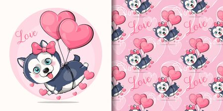 cute cartoon husky puppy flying with heart balloons Illustration