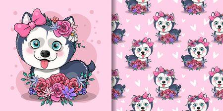 cute cartoon husky puppy with flowers