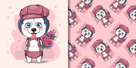 cute cartoon husky puppy with flowers Illustration