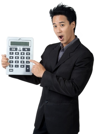 Business man Made frightened and Hold Calculator isolated photo