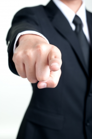 Businessman Pointing and I want you isolated photo