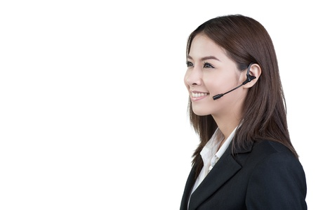 call center woman customer service operator in isolated photo