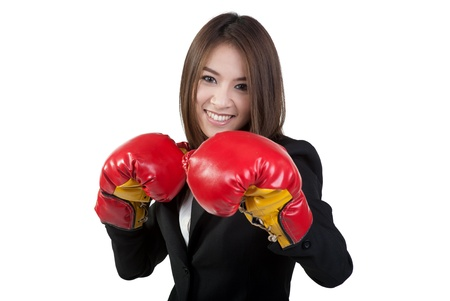business woman Attractive Boxing glove in suit isolated photo