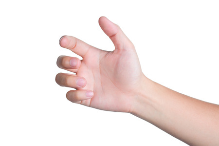 hand sign posture pick hold in isolated photo