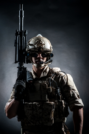 army face: soldier man hold Machine gun fashion