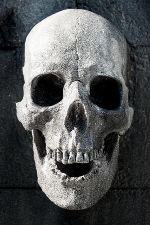 mortality: carving gravestone skull in cemetery