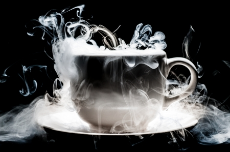 Coffee cup smoke abstract art photo